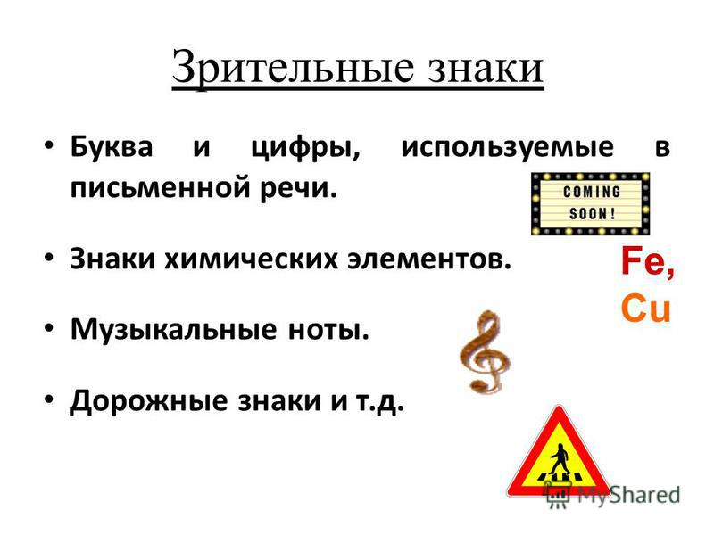 Зрительные знаки Буква и цифры, используемые в письменной речи. Знаки химических элементов. Музыкальные ноты. Дорожные знаки и т.д. Fe, Cu