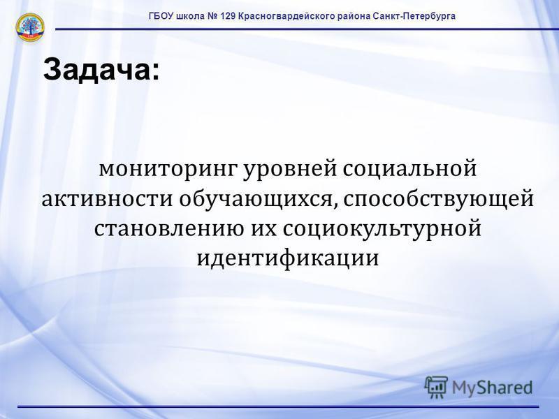 ГБОУ школа 129 Красногвардейского района Санкт-Петербурга Задача: мониторинг уровней социальной активности обучающихся, способствующей становлению их социокультурной идентификации