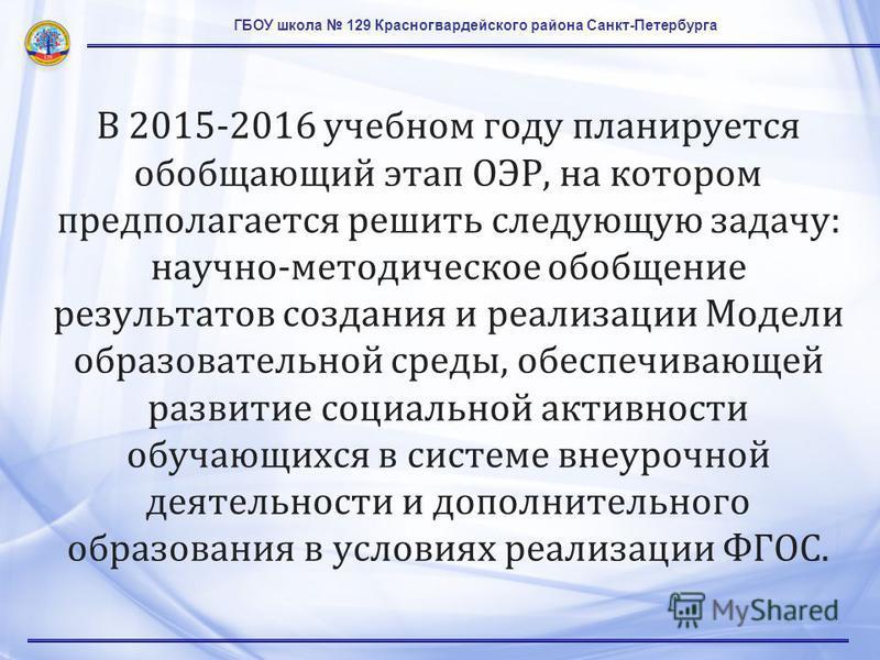 ГБОУ школа 129 Красногвардейского района Санкт-Петербурга В 2015-2016 учебном году планируется обобщающий этап ОЭР, на котором предполагается решить следующую задачу: научно-методическое обобщение результатов создания и реализации Модели образователь