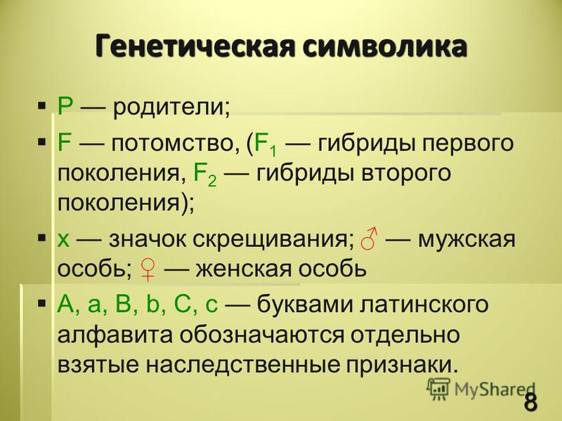 Р родители; F потомство, (F 1 гибриды первого поколения, F 2 гибриды второго поколения); х значок скрещивания; мужская особь; женская особь A, a, B, b, C, c буквами латинского алфавита обозначаются отдельно взятые наследственные признаки. Генетическа
