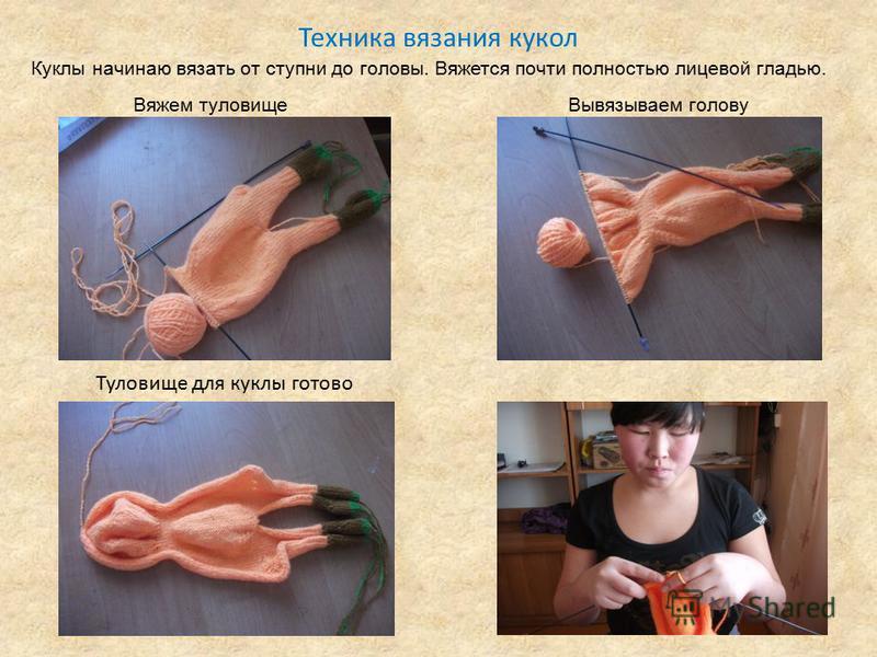 Техника вязания кукол Туловище для куклы готово Вяжем туловище Вывязываем голову Куклы начинаю вязать от ступни до головы. Вяжется почти полностью лицевой гладью.