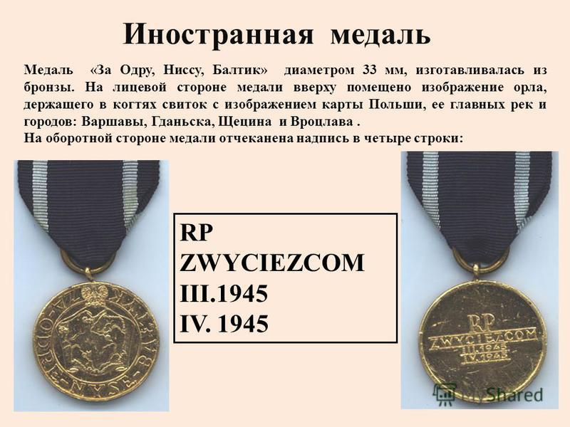 Медаль « За Одру, Ниссу, Балтик » диаметром 33 мм, изготавливалась из бронзы. На лицевой стороне медали вверху помещено изображение орла, держащего в когтях свиток с изображением карты Польши, ее главных рек и городов : Варшавы, Гданьска, Щецина и Вр