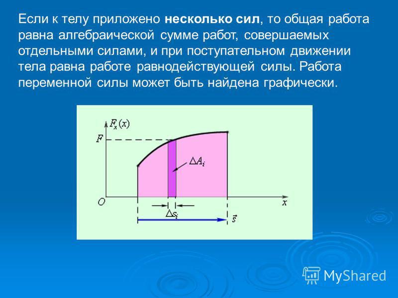Если к телу приложено несколько сил, то общая работа равна алгебраической сумме работ, совершаемых отдельными силами, и при поступательном движении тела равна работе равнодействующей силы. Работа переменной силы может быть найдена графически.