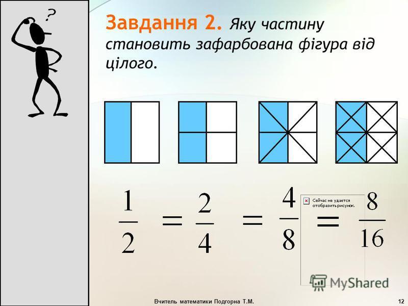 Вчитель математики Подгорна Т.М.12 Завдання 2. Яку частину становить зафарбована фігура від цілого.
