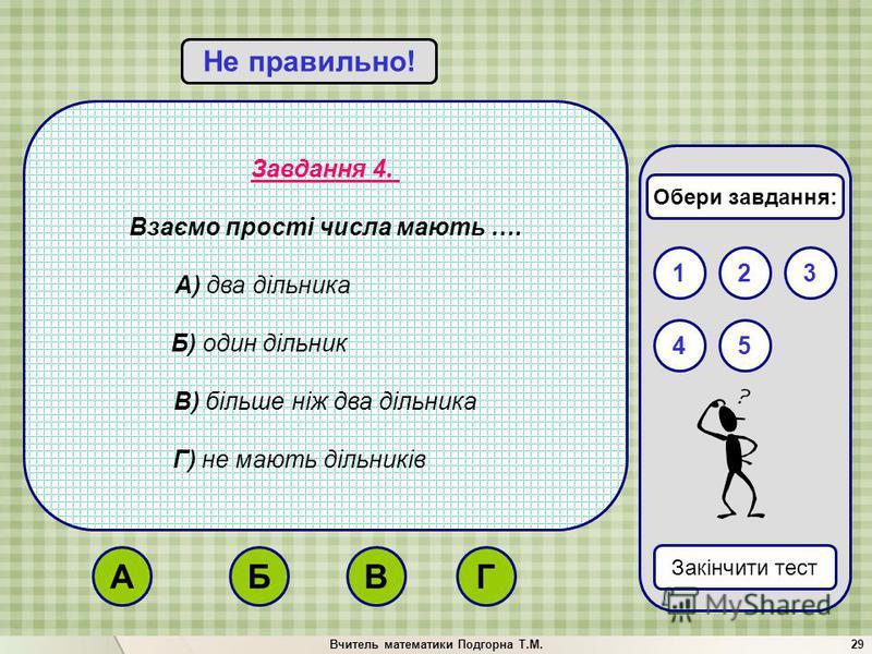 Вчитель математики Подгорна Т.М.29 Завдання 4. Взаємо прості числа мають …. А) два дільника Б) один дільник В) більше ніж два дільника Г) не мають дільників Вірно!Не правильно! 132 Закінчити тест 54 Обери завдання: БГВА