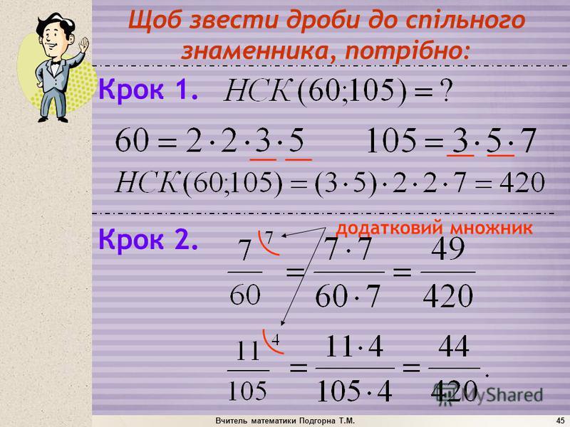 Вчитель математики Подгорна Т.М.45 додатковий множник Щоб звести дроби до спільного знаменника, потрібно: Крок 1. Крок 2.