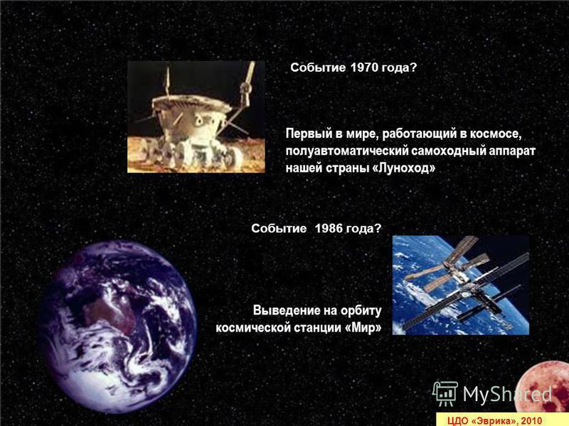 Умнов А., 6 кл. Чубаров В., 8 кл. ЦДО Эврика Первый в мире, работающий в космосе, полуавтоматический самоходный аппарат нашей страны «Луноход» Выведение на орбиту космической станции «Мир» Событие 1970 года? Событие 1986 года? ЦДО «Эврика», 2010