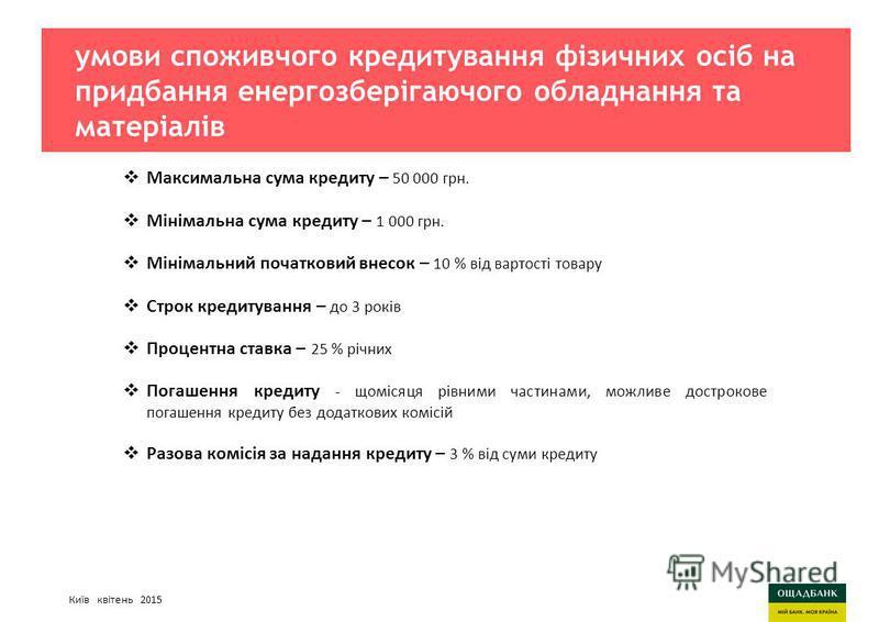 Киев, март 2015 годаСтратегия развития Ощадбанк умови споживчого кредитування фізичних осіб на придбання енергозберігаючого обладнання та матеріалів Максимальна сума кредиту – 50 000 грн. Мінімальна сума кредиту – 1 000 грн. Мінімальний початковий вн