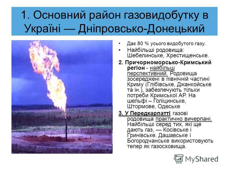 Газова промисловість. Особливістю газової промисловості є те, що видобуток палива тісно пов'язаний з його транспортуванням, адже до родовищ потрібно підвести трубопровід. Споживають газ житлово- комунальні господарства, металургійна та хімічна промис