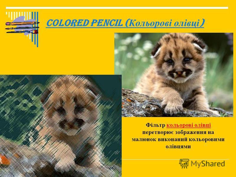 Colored Pencil ( Кольорові олівці ) Фільтр кольорові олівці перетворює зображення на малюнок виконаний кольоровими олівцями