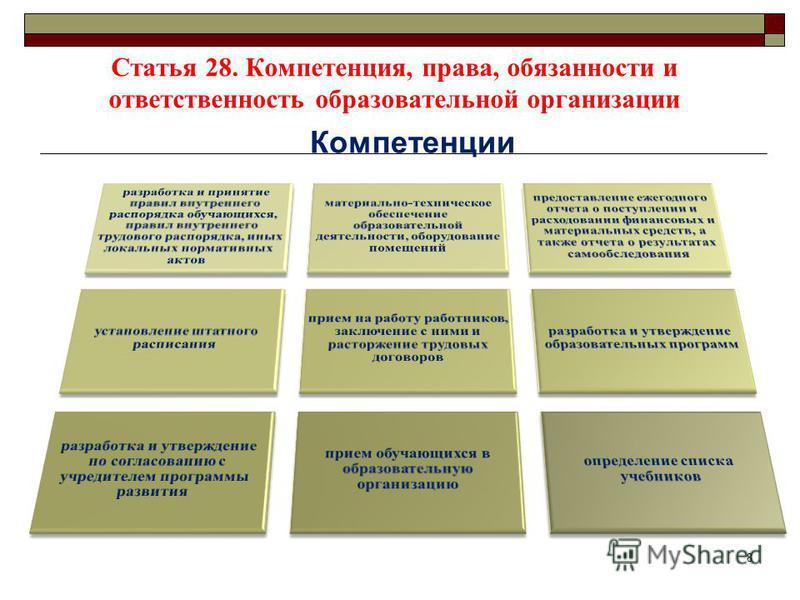 Статья 28. Компетенция, права, обязанности и ответственность образовательной организации Компетенции 8