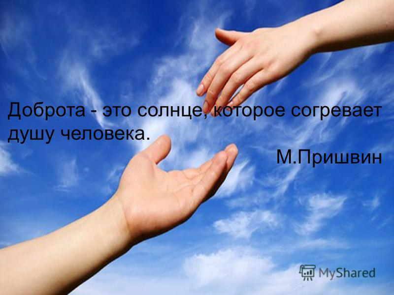 Доброта - это солнце, которое согревает душу человека. М.Пришвин
