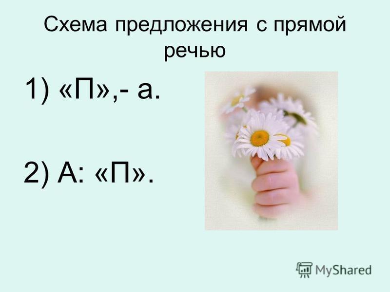 Схема предложения с прямой речью 1) «П»,- а. 2) А: «П».