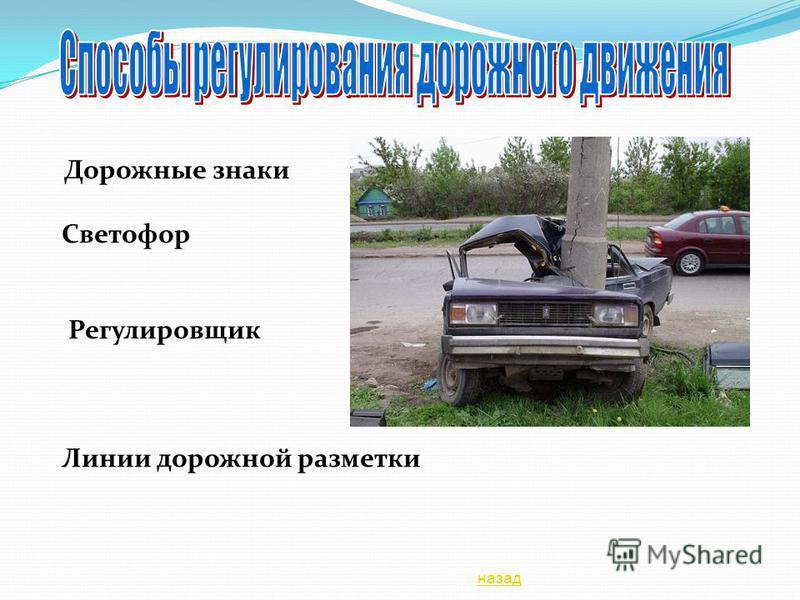Дорожные знаки Светофор Регулировщик Линии дорожной разметки назад