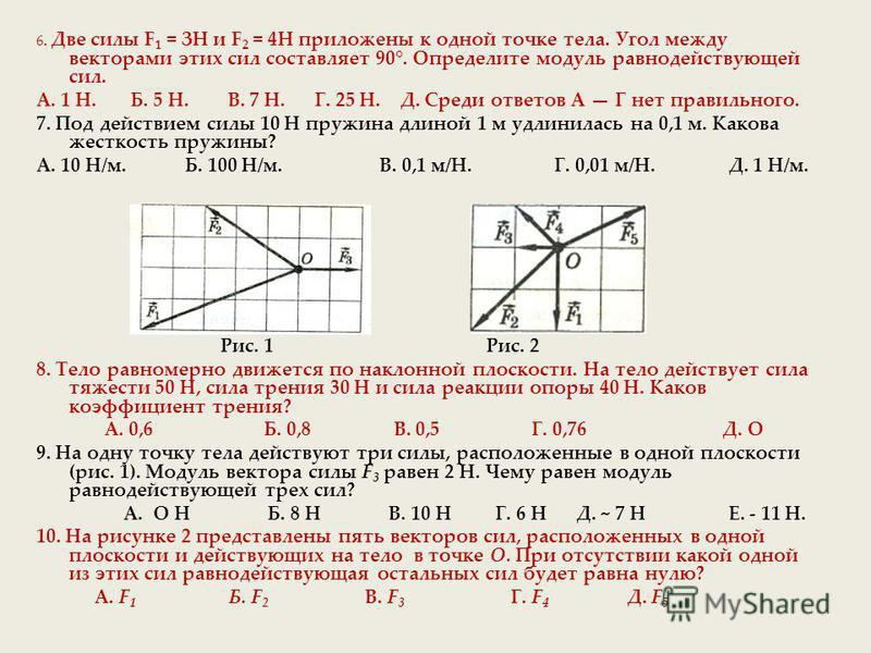 6. Две силы F 1 = ЗН и F 2 = 4Н приложены к одной точке тела. Угол между векторами этих сил составляет 90°. Определите модуль равнодействующей сил. А. 1 Н. Б. 5 Н. В. 7 Н. Г. 25 Н. Д. Среди ответов А Г нет правильного. 7. Под действием силы 10 Н пруж