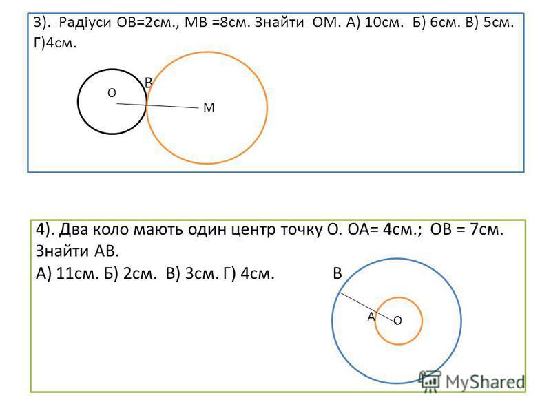 3). Радіуси ОВ=2см., МВ =8см. Знайти ОМ. А) 10см. Б) 6см. В) 5см. Г)4см. В В О М 4). Два коло мають один центр точку О. ОА= 4см.; ОВ = 7см. Знайти АВ. А) 11см. Б) 2см. В) 3см. Г) 4см. В ААА О О А