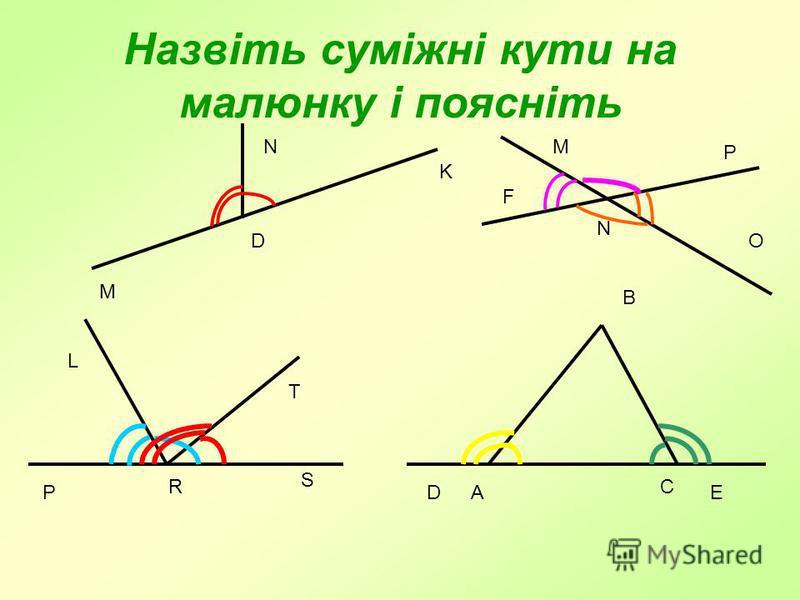 Назвіть суміжні кути на малюнку і поясніть K M N O M F P N P S R T L DEA C B D