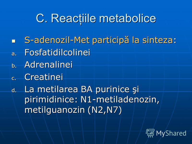 C. Reacţiile metabolice S-adenozil-Met participă la sinteza: S-adenozil-Met participă la sinteza: a. Fosfatidilcolinei b. Adrenalinei c. Creatinei d. La metilarea BA purinice şi pirimidinice: N1-metiladenozin, metilguanozin (N2,N7)