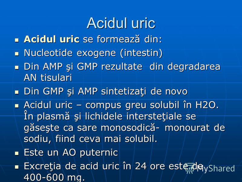 Acidul uric Acidul uric se formează din: Acidul uric se formează din: Nucleotide exogene (intestin) Nucleotide exogene (intestin) Din AMP şi GMP rezultate din degradarea AN tisulari Din AMP şi GMP rezultate din degradarea AN tisulari Din GMP şi AMP s