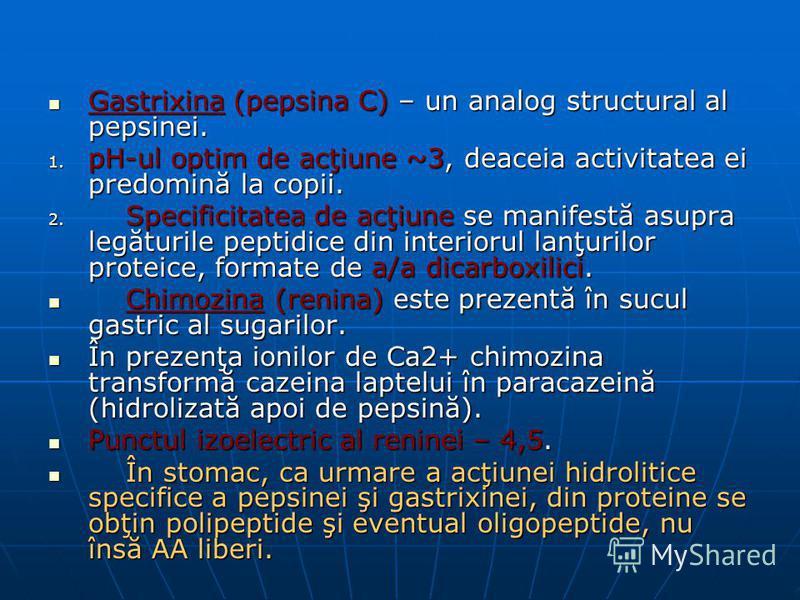 Gastrixina (pepsina C) – un analog structural al pepsinei. Gastrixina (pepsina C) – un analog structural al pepsinei. 1. pH-ul optim de acţiune ~3, deaceia activitatea ei predomină la copii. 2. Specificitatea de acţiune se manifestă asupra legăturile