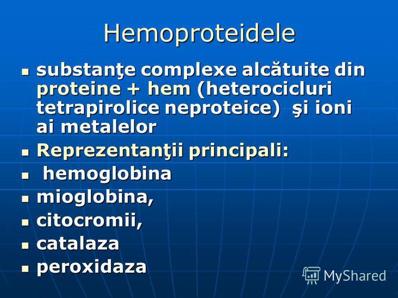 Hemoproteidele substanţe complexe alcătuite din proteine + hem (heterocicluri tetrapirolice neproteice) şi ioni ai metalelor substanţe complexe alcătuite din proteine + hem (heterocicluri tetrapirolice neproteice) şi ioni ai metalelor Reprezentanţii