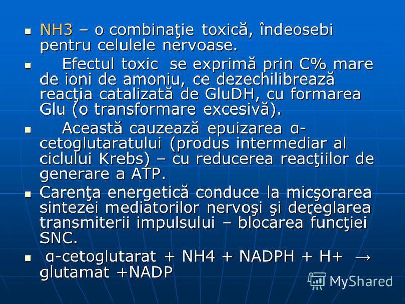 NH3 – o combinaţie toxică, îndeosebi pentru celulele nervoase. NH3 – o combinaţie toxică, îndeosebi pentru celulele nervoase. Efectul toxic se exprimă prin C% mare de ioni de amoniu, ce dezechilibrează reacţia catalizată de GluDH, cu formarea Glu (o