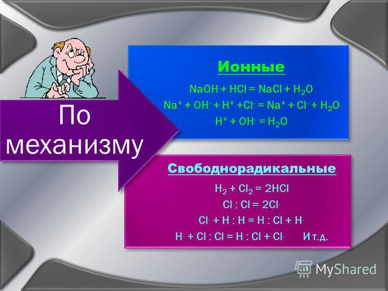 Ионные NaOH + HCl = NaCl + H2O Na + + OH - + H + +Cl - = Na + + Cl - + H 2 O H + + OH - = H 2 O Свободнорадикальные H2 + Cl 2 = 2HCl Cl : Cl = 2Cl. Cl. + H : H = H : Cl + H. H. + Cl : Cl = H : Cl + Cl. И т.д. По механизму