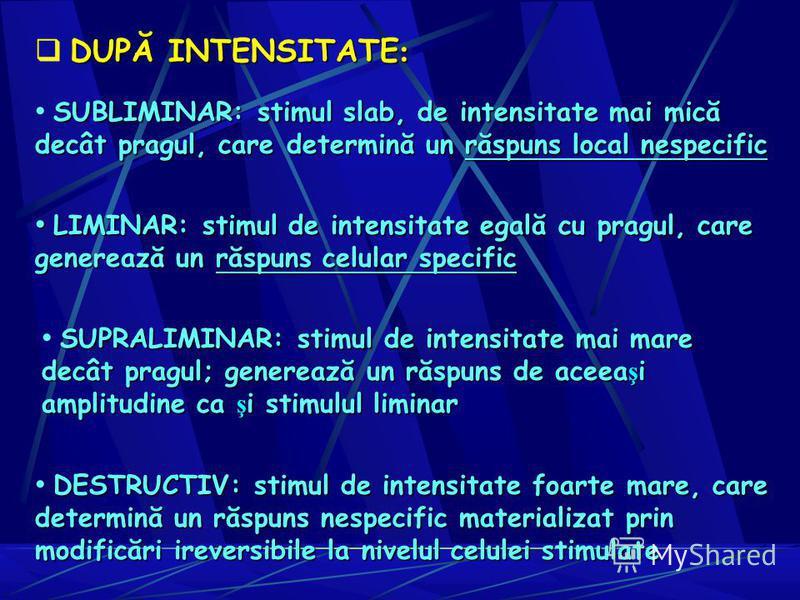 SUBLIMINAR: stimul slab, de intensitate mai mică decât pragul, care determină un răspuns local nespecific LIMINAR: stimul de intensitate egală cu pragul, care generează un răspuns celular specific LIMINAR: stimul de intensitate egală cu pragul, care