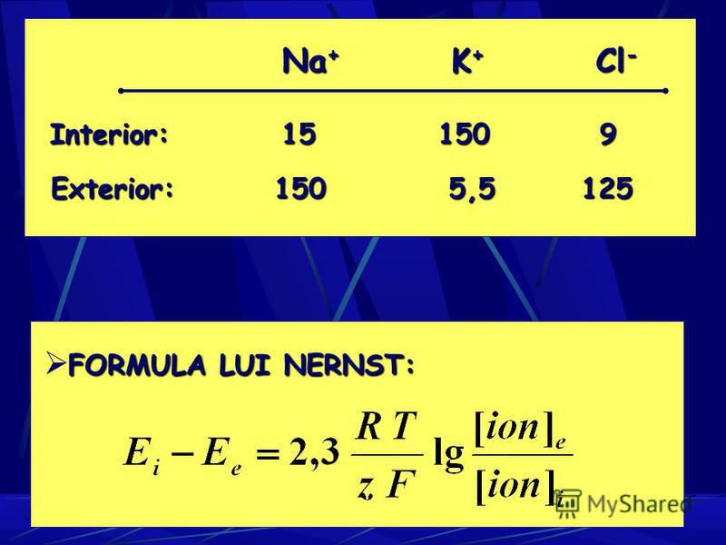 Na + K + Cl - Interior: 15 150 9 Exterior: 150 5,5 125 FORMULA LUI NERNST: