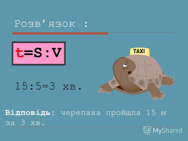 Розвязок : 15:5=3 хв. Відповідь: черепаха пройшла 15 м за 3 хв. t=S:V