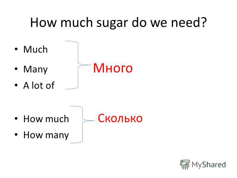 How much sugar do we need? Much Many Много A lot of How much Сколько How many