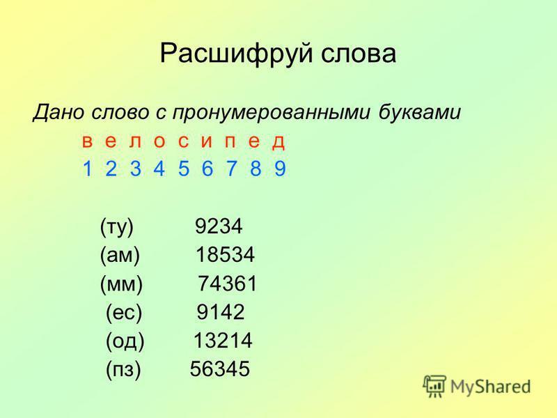 Расшифруй слова Дано слово с пронумерованными буквами в е л о с и п е д 1 2 3 4 5 6 7 8 9 (ту) 9234 (ам) 18534 (мм) 74361 (ес) 9142 (од) 13214 (пз) 56345