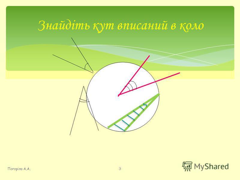 Знайдіть кут вписаний в коло Погоріла А,А,3