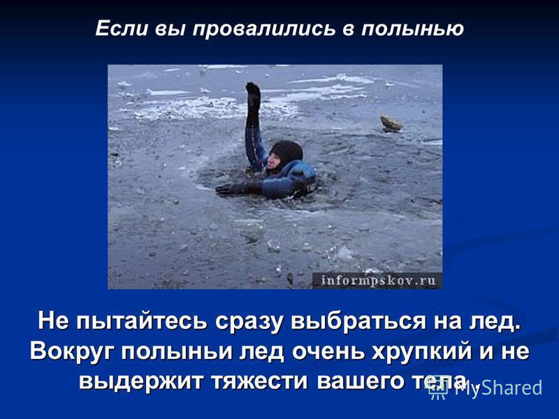 Если вы провалились в полынью Не пытайтесь сразу выбраться на лед. Вокруг полыньи лед очень хрупкий и не выдержит тяжести вашего тела.
