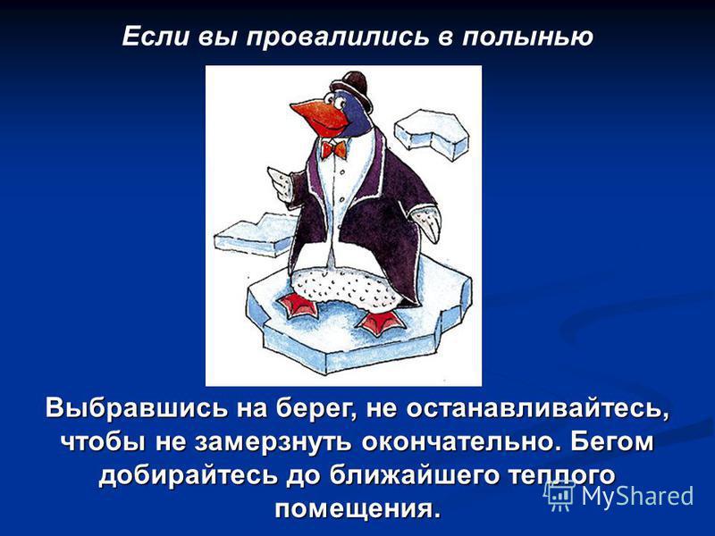 Если вы провалились в полынью Выбравшись на берег, не останавливайтесь, чтобы не замерзнуть окончательно. Бегом добирайтесь до ближайшего теплого помещения.