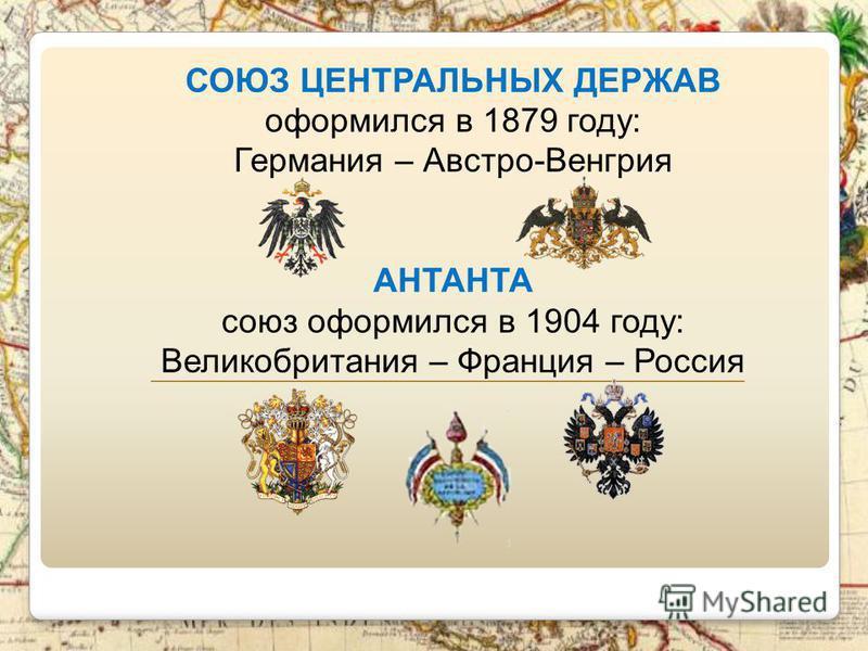 СОЮЗ ЦЕНТРАЛЬНЫХ ДЕРЖАВ оформился в 1879 году: Германия – Австро-Венгрия АНТАНТА союз оформился в 1904 году: Великобритания – Франция – Россия _________________________________________