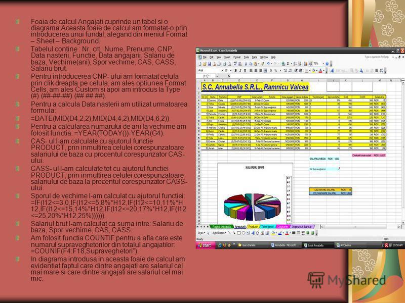 Foaia de calcul Angajati cuprinde un tabel si o diagrama.Aceasta foaie de calcul am formatat-o prin introducerea unui fundal, alegand din meniul Format – Sheet – Background. Tabelul contine : Nr. crt, Nume, Prenume, CNP, Data nasterii, Functie, Data