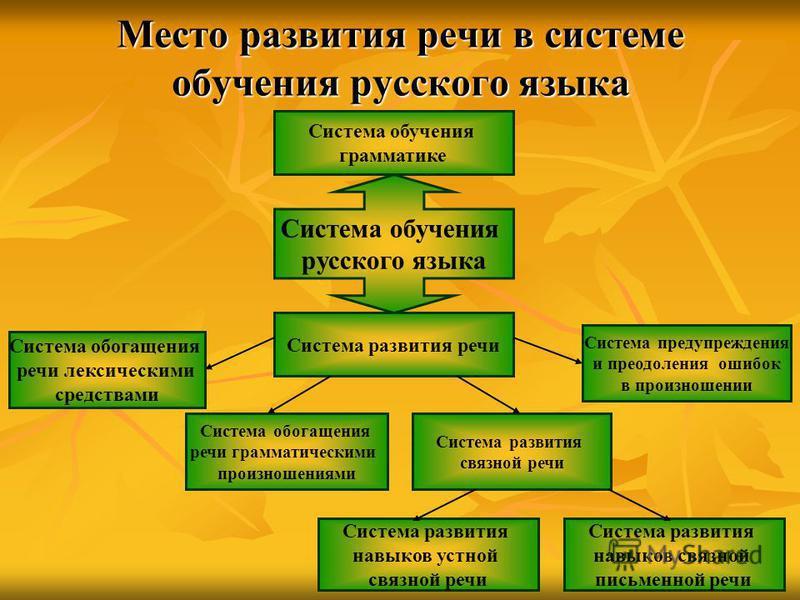 Место развития речи в системе обучения русского языка Система обучения грамматике Система развития речи Система обогащения речи лексическими средствами Система обогащения речи грамматическими произношениями Система развития навыков устной связной реч