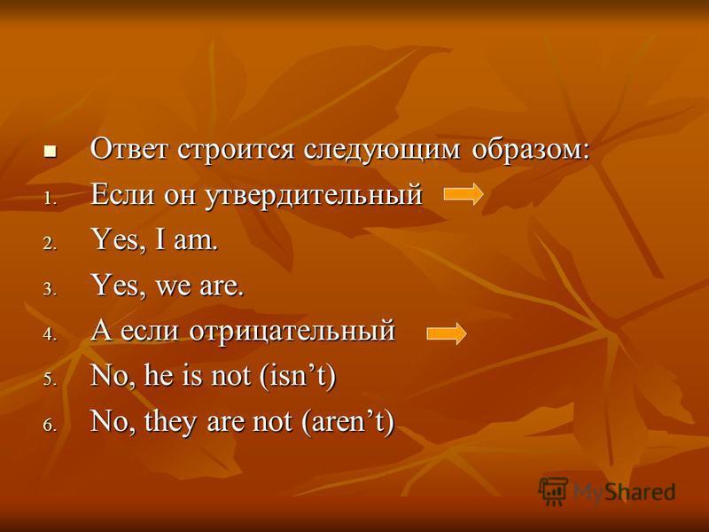 Ответ строится следующим образом: Ответ строится следующим образом: 1. Если он утвердительный 2. Yes, I am. 3. Yes, we are. 4. А если отрицательный 5. No, he is not (isnt) 6. No, they are not (arent)
