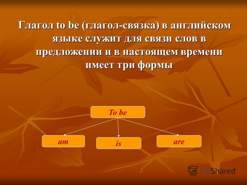 Глагол to be (глагол-связка) в английском языке служит для связи слов в предложении и в настоящем времени имеет три формы To be am is are