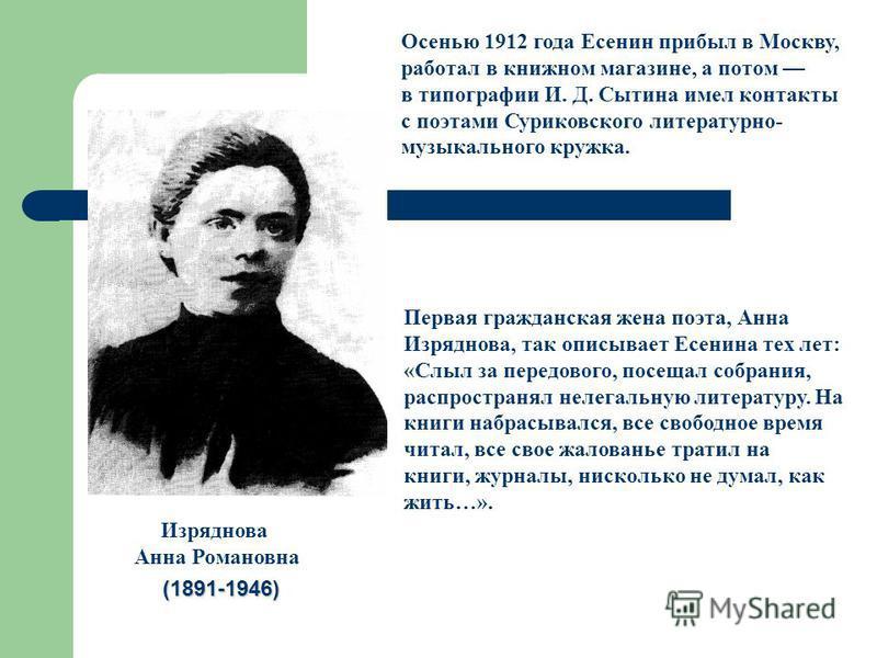 Первая гражданская жена поэта, Анна Изряднова, так описывает Есенина тех лет: «Слыл за передового, посещал собрания, распространял нелегальную литературу. На книги набрасывался, все свободное время читал, все свое жалованье тратил на книги, журналы,