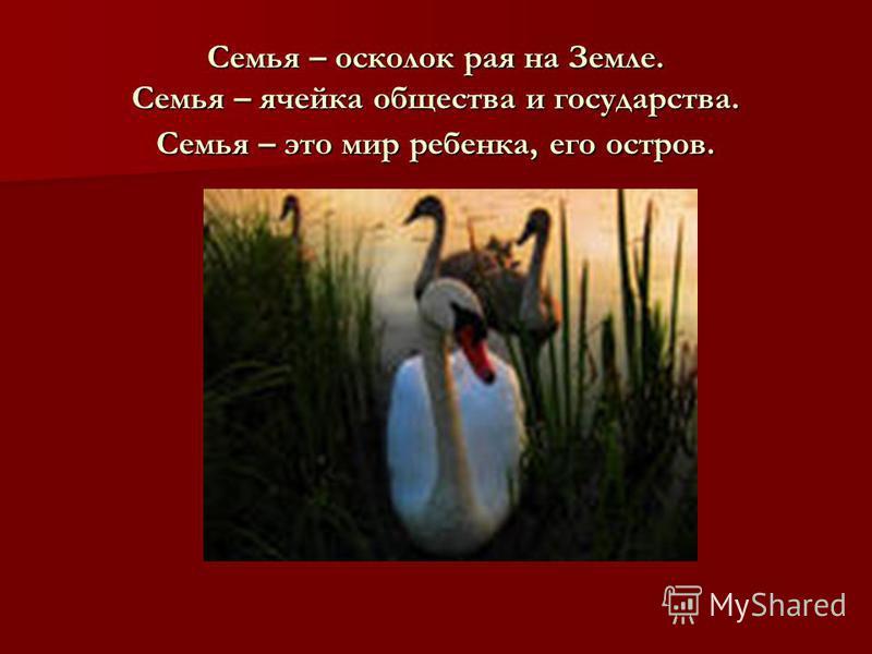 Семья – осколок рая на Земле. Семья – ячейка общества и государства. Семья – это мир ребенка, его остров.