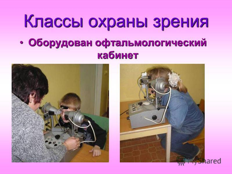 Классы охраны зрения Оборудован офтальмологический кабинет Оборудован офтальмологический кабинет