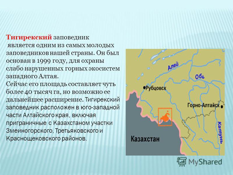 является одним из самых молодых заповедников нашей страны. Он был основан в 1999 году, для охраны слабо нарушенных горных экосистем западного Алтая. Сейчас его площадь составляет чуть более 40 тысяч га, но возможно ее дальнейшее расширение. Тигирекск