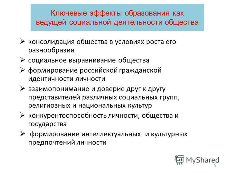 9 консолидация общества в условиях роста его разнообразия социальное выравнивание общества формирование российской гражданской идентичности личности взаимопонимание и доверие друг к другу представителей различных социальных групп, религиозных и нацио