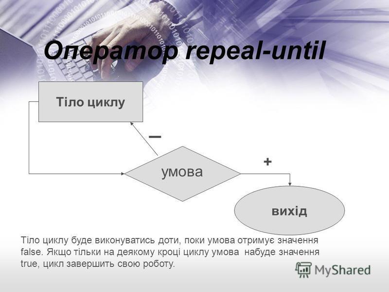 Оператор repeal-until + умова Тіло циклу вихід Тіло циклу буде виконуватись доти, поки умова oтримує значення false. Якщо тільки на деякому кроці циклу умова набуде значення true, цикл завершить свою роботу.