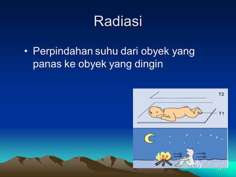 14 Radiasi Perpindahan suhu dari obyek yang panas ke obyek yang dingin