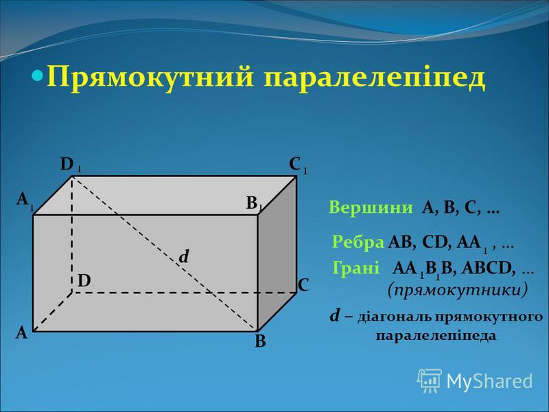 Прямокутний паралелепіпед А В С D А В С D Вершини А, В, С, … B Ребра АВ, СD, АА, … Грані АA (прямокутники) В, ABCD, … d d – діагональ прямокутного паралелепіпеда
