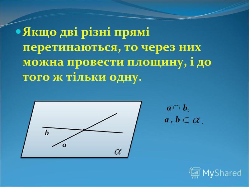 Якщо дві різні прямі перетинаються, то через них можна провести площину, і до того ж тільки одну. а b. а, b. a b,