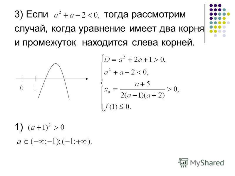 3) Если тогда рассмотрим случай, когда уравнение имеет два корня и промежуток находится слева корней. 1)